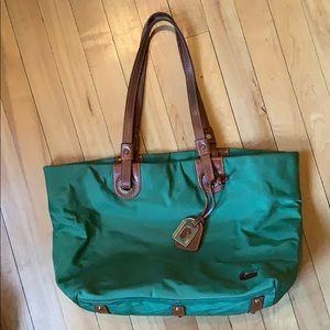 Green and brown shoulder bag
